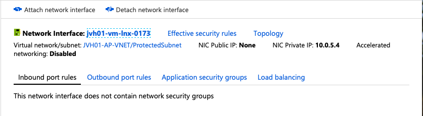No public IP assigned to the network interface.