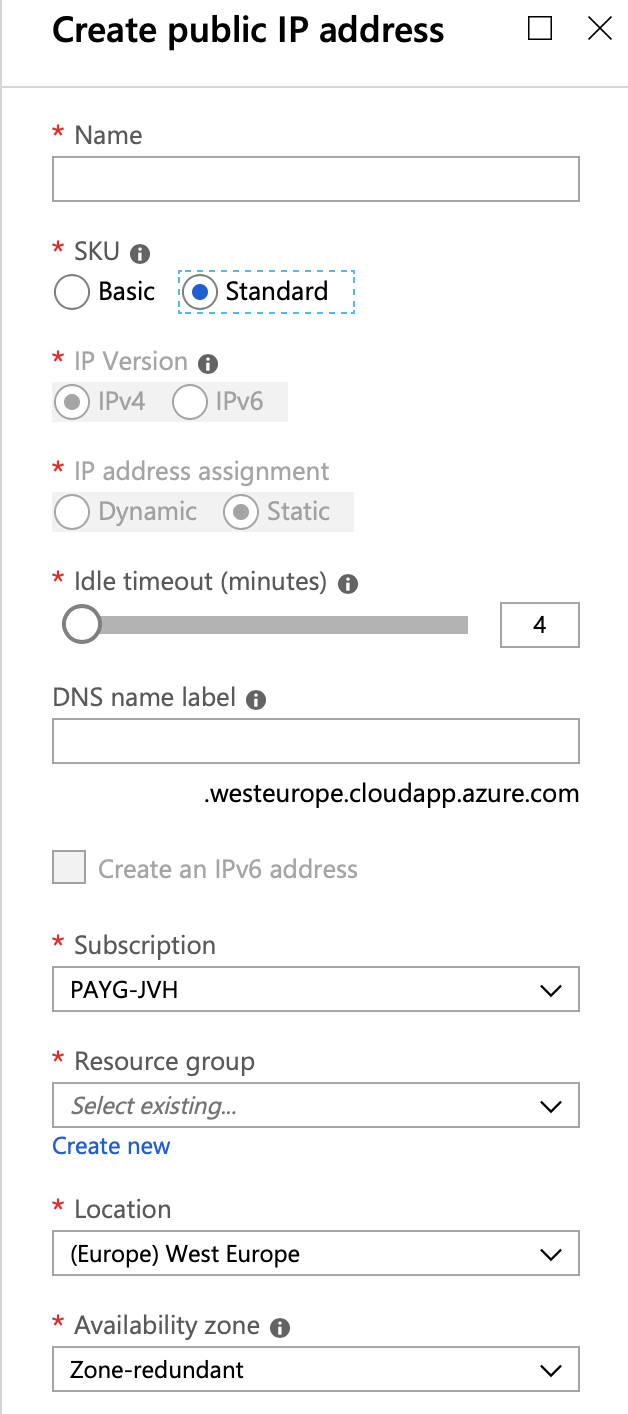 Azure Basic Public IP configuration